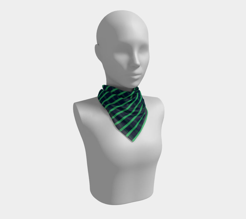 Striped Square Scarf - Green on Navy