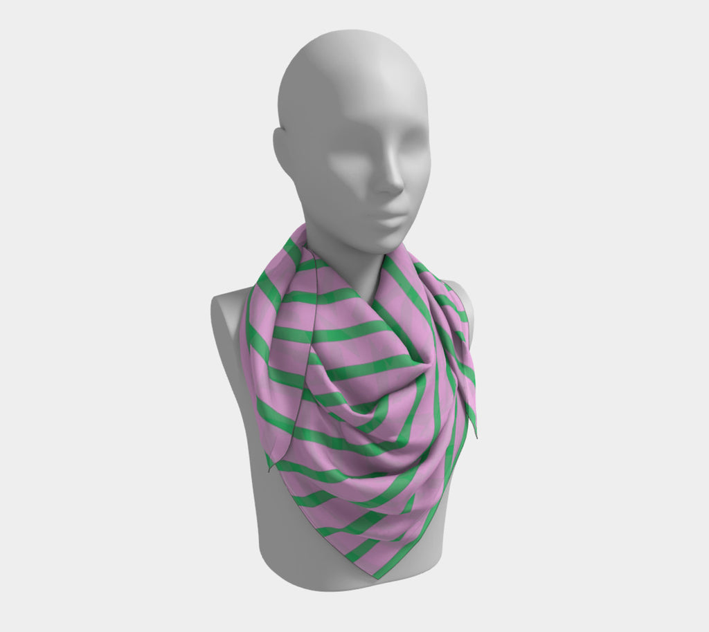 Striped Square Scarf - Green on Pink