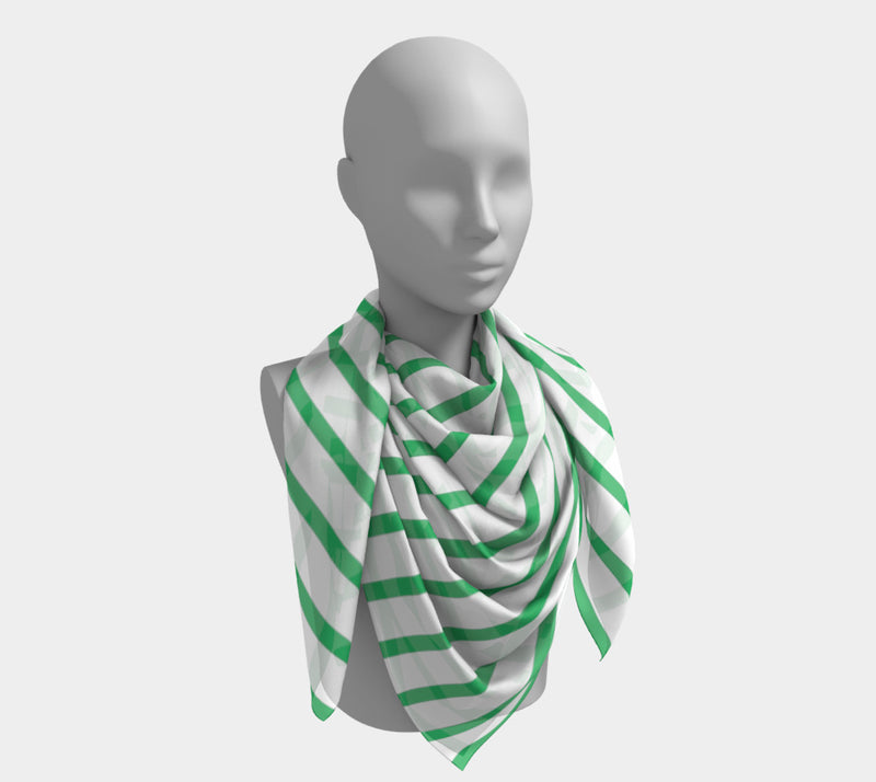 Striped Square Scarf - Green on White - SummerTies