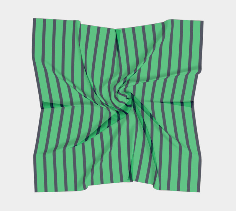 Striped Square Scarf - Navy on Green - SummerTies