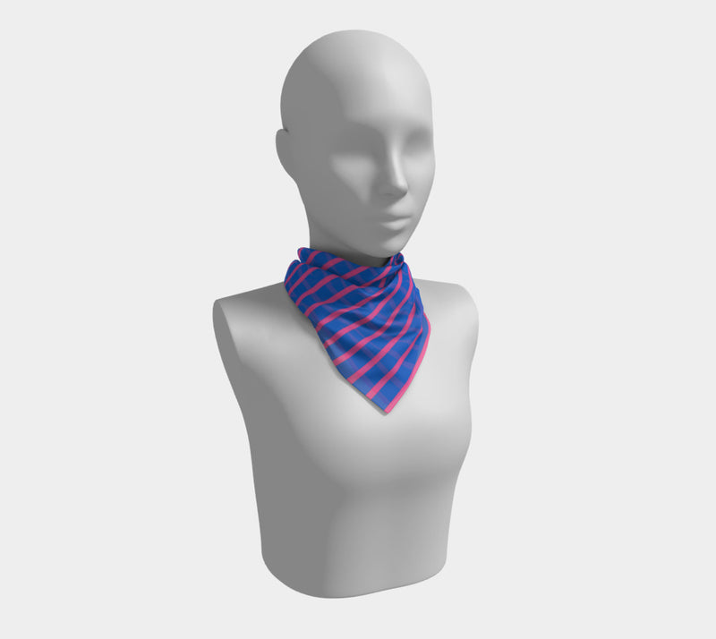 Striped Square Scarf - Pink on Blue - SummerTies