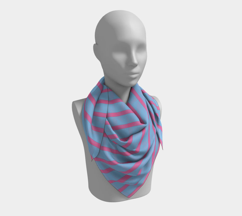 Striped Square Scarf - Pink on Light Blue - SummerTies