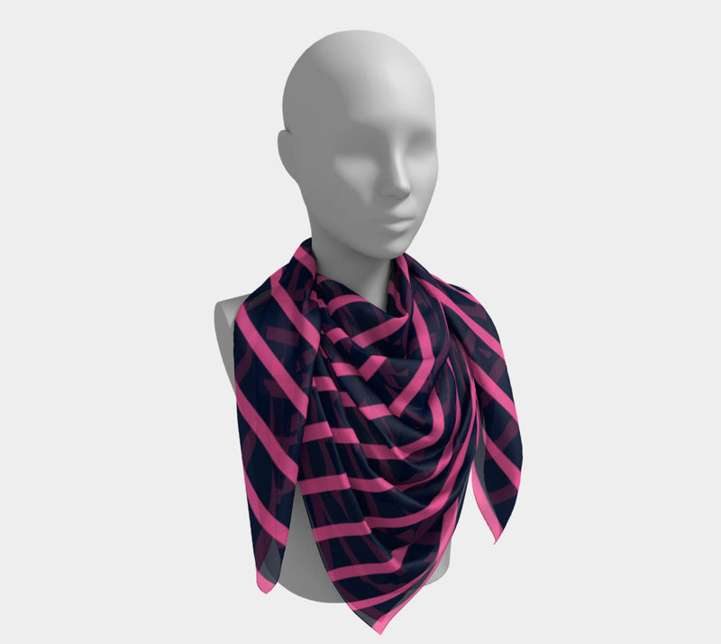 Striped Square Scarf - Pink on Navy - SummerTies