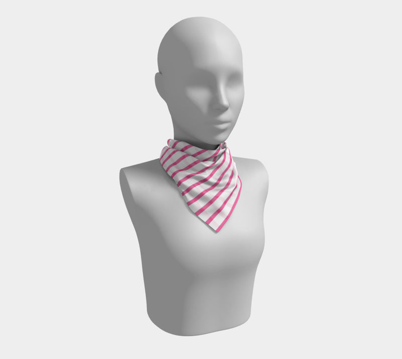 Striped Square Scarf - Pink on White - SummerTies