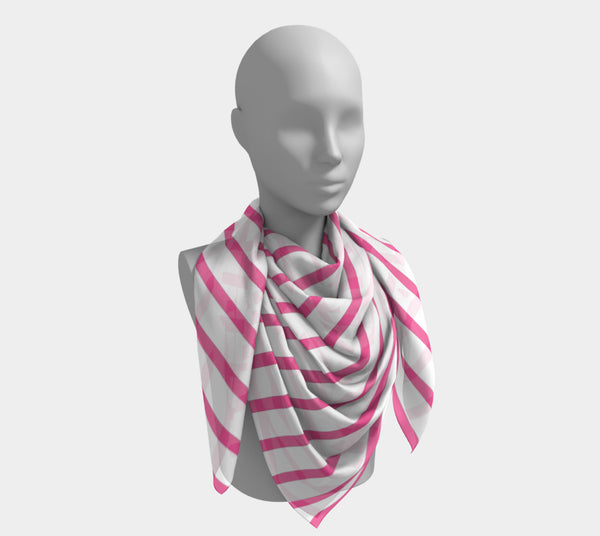Striped Square Scarf - Pink on White
