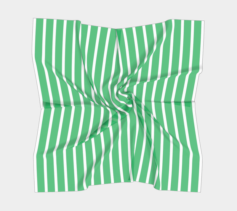 Striped Square Scarf - White on Green - SummerTies