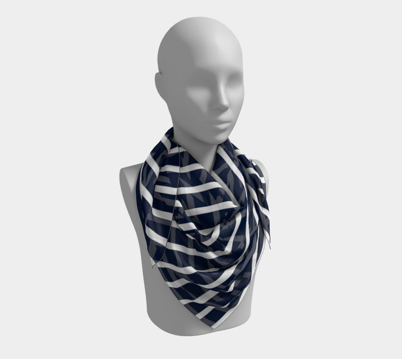 Striped Square Scarf - White on Navy - SummerTies