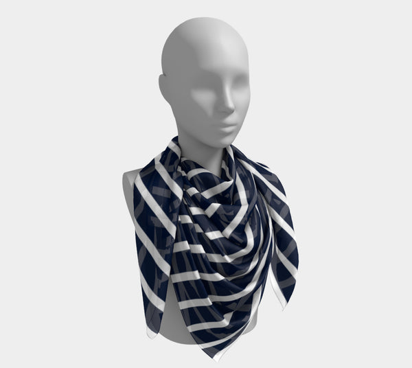 Striped Square Scarf - White on Navy