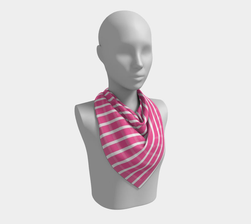 Striped Square Scarf - White on Pink - SummerTies