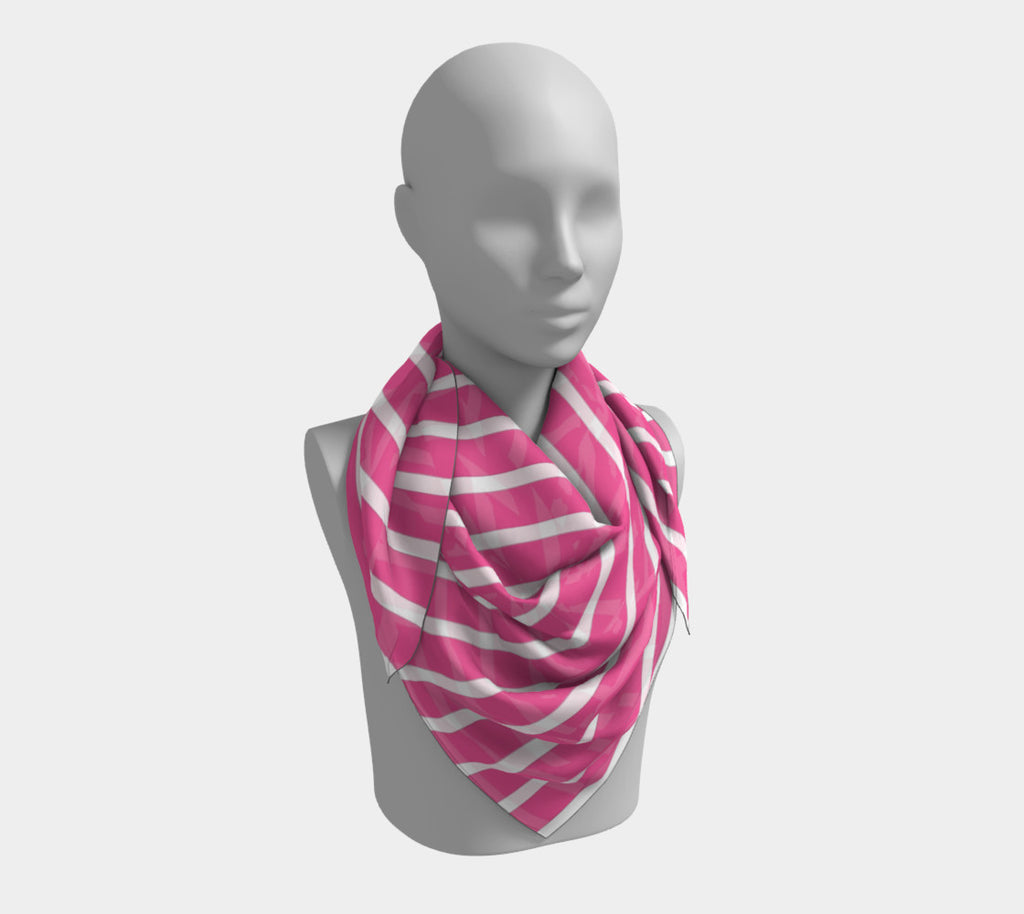 Striped Square Scarf - White on Pink