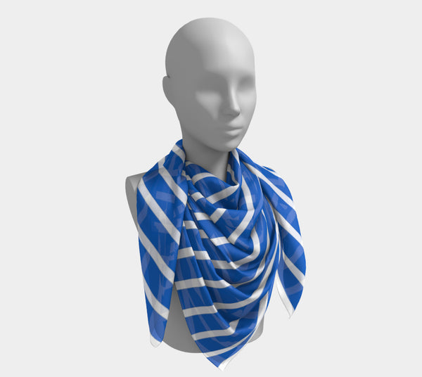 Striped Square Scarf - White on Blue