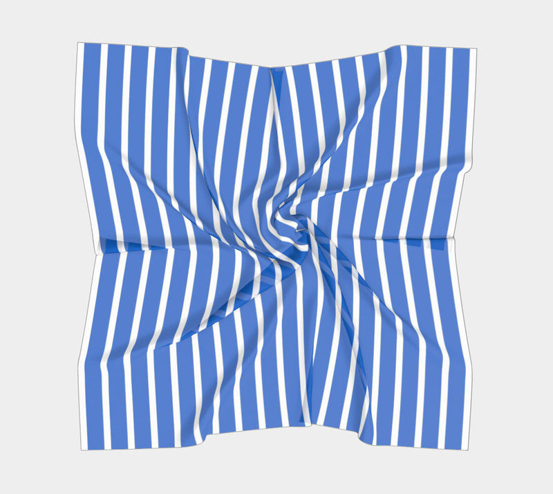 Striped Square Scarf - White on Blue - SummerTies