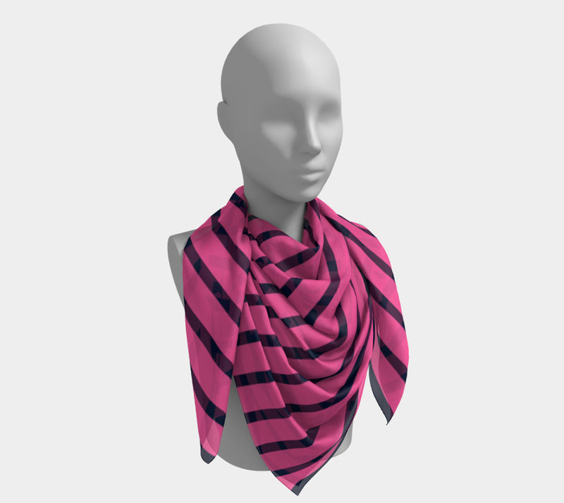 Striped Square Scarf - Navy on Pink - SummerTies
