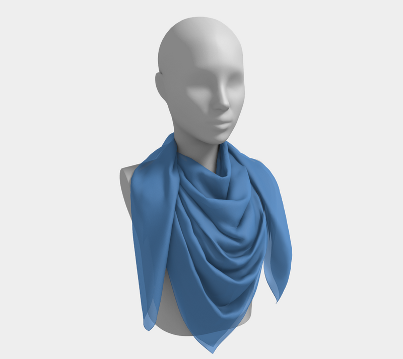 Solid Square Scarf - Blue - SummerTies