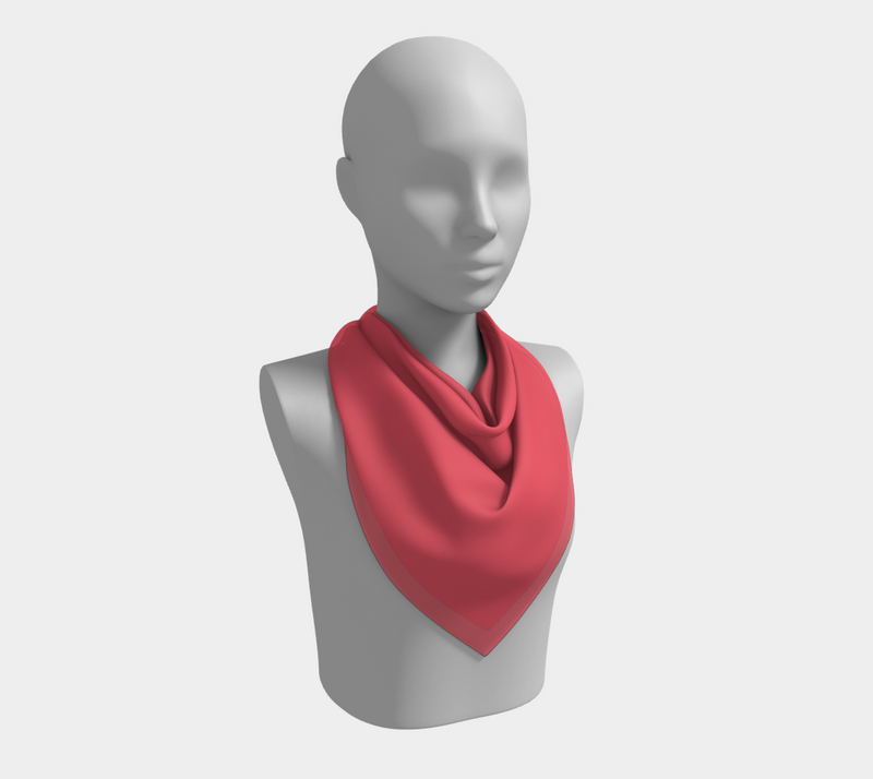 Solid Square Scarf - Coral - SummerTies