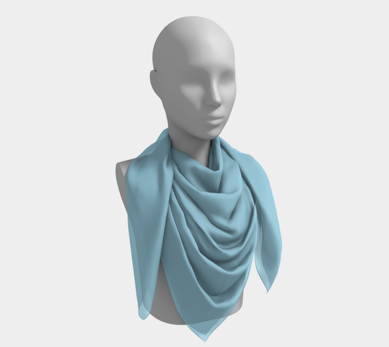 Solid Square Scarf - Light Blue - SummerTies
