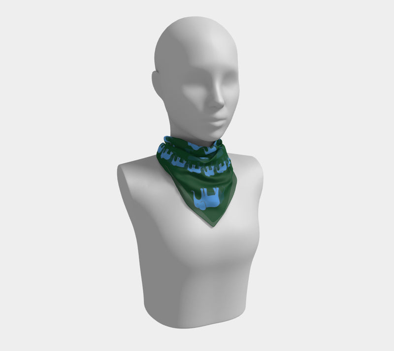 Elephant Square Scarf - Blue on Green