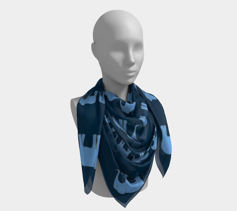 Elephant Square Scarf - Blue on Navy