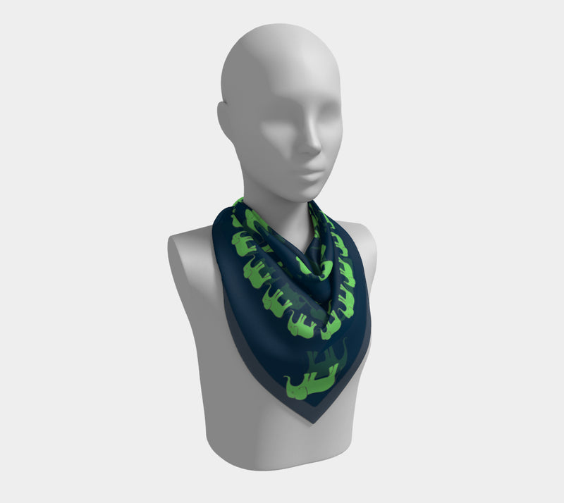 Elephant Square Scarf - Green on Navy
