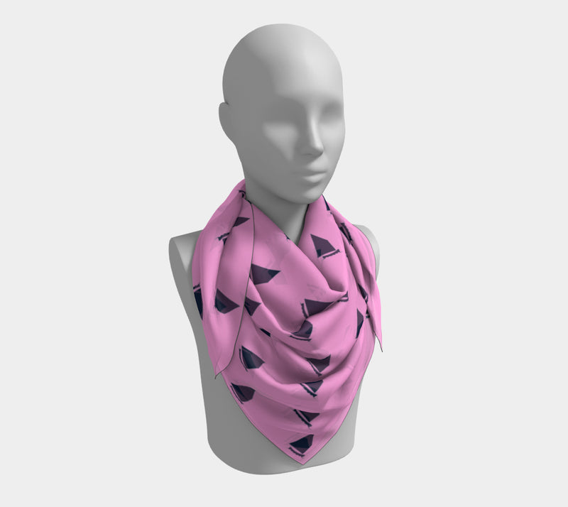 Sailboat Square Scarf - Navy on Pink, Toss