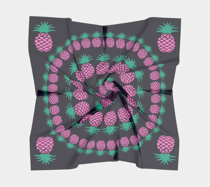 Pineapple Square Scarf - Pink & Green on Dark Navy
