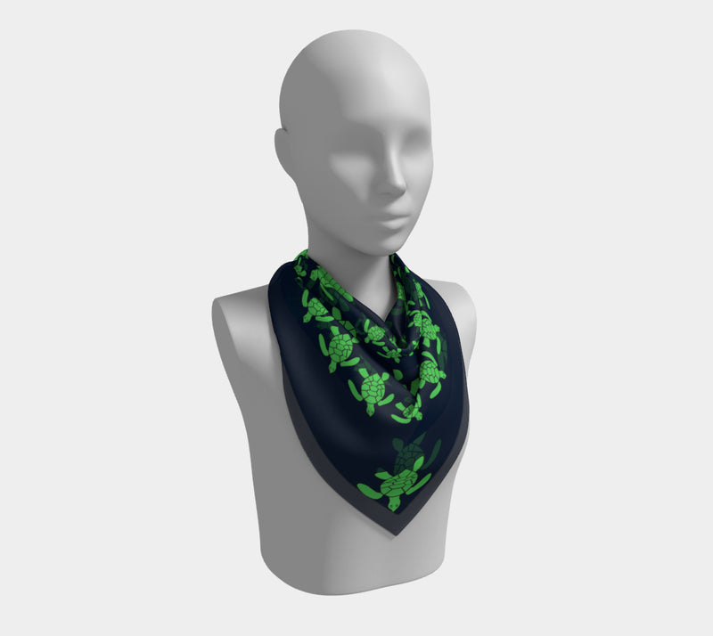 Turtle Square Scarf - Green on Navy