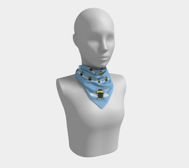 Bee Square Scarf - on Sky Blue