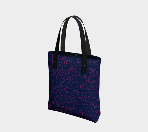 Anchor Dream Tote Bag - Pink on Navy - SummerTies
