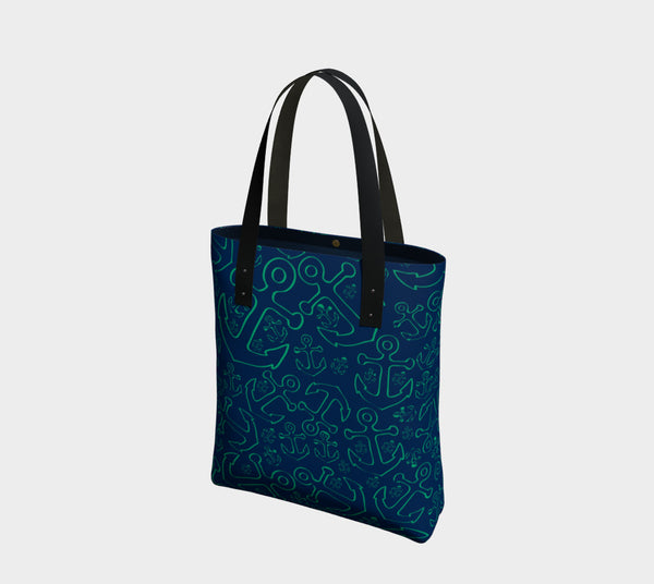 Anchor Dream Tote Bag - Green on Navy - SummerTies