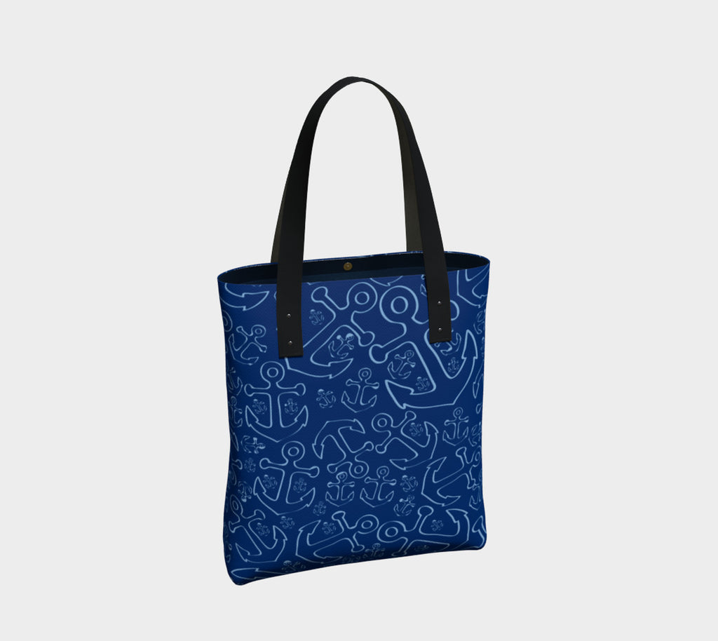 Anchor Dream Tote Bag - Blue on Navy - SummerTies