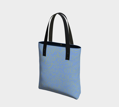 Anchor Dream Tote Bag - Yellow on Light Blue - SummerTies