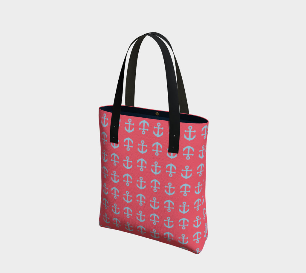 Anchor Toss Tote Bag - Light Blue on Coral - SummerTies