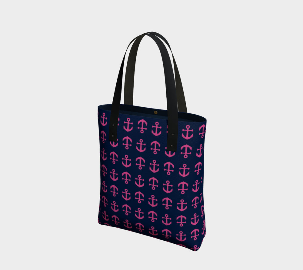 Anchor Toss Tote Bag - Pink on Navy - SummerTies