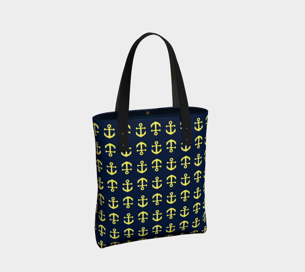 Anchor Toss Tote Bag - Yellow on Navy