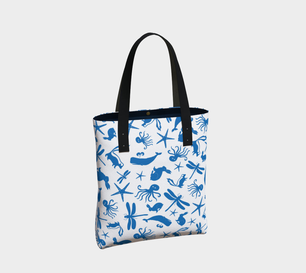 Multi Creature Tote Bag - Blue on White