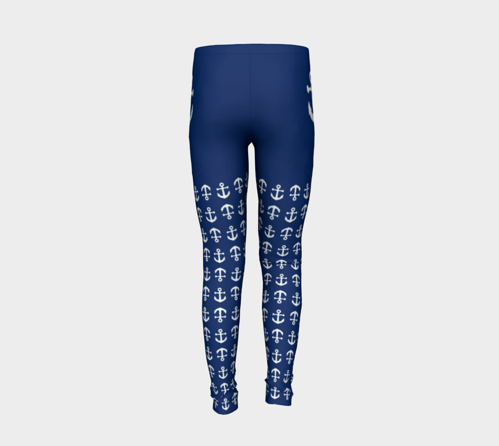 Anchor Legs and Hip Youth Leggings - White on Navy - SummerTies
