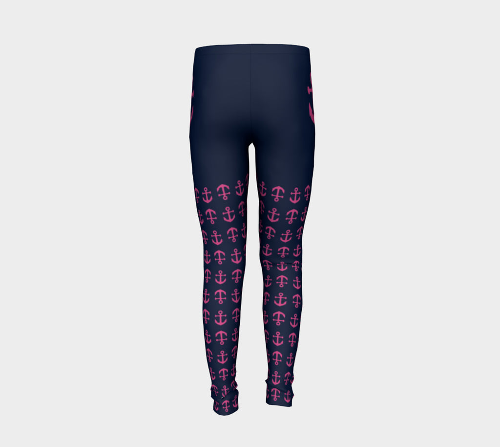 Anchor Legs and Hip Youth Leggings - Pink on Navy - SummerTies