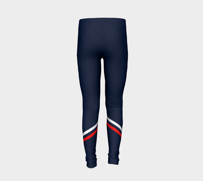 Stripe Youth Leggings - Red and White on Navy