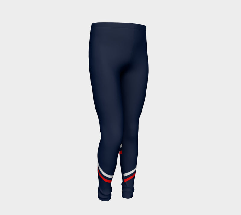 Stripe Youth Leggings - Red and White on Navy - SummerTies