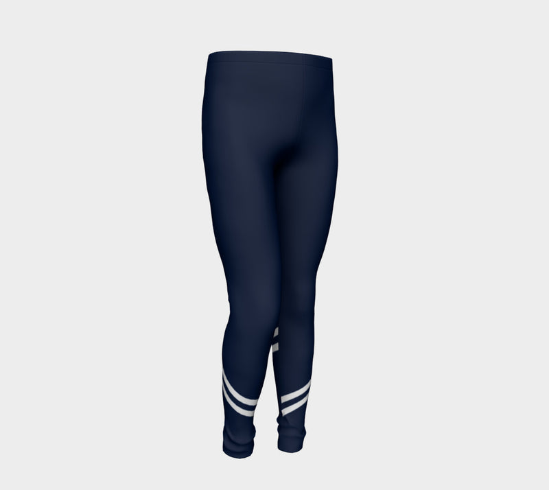 Stripe Youth Leggings - White on Navy - SummerTies