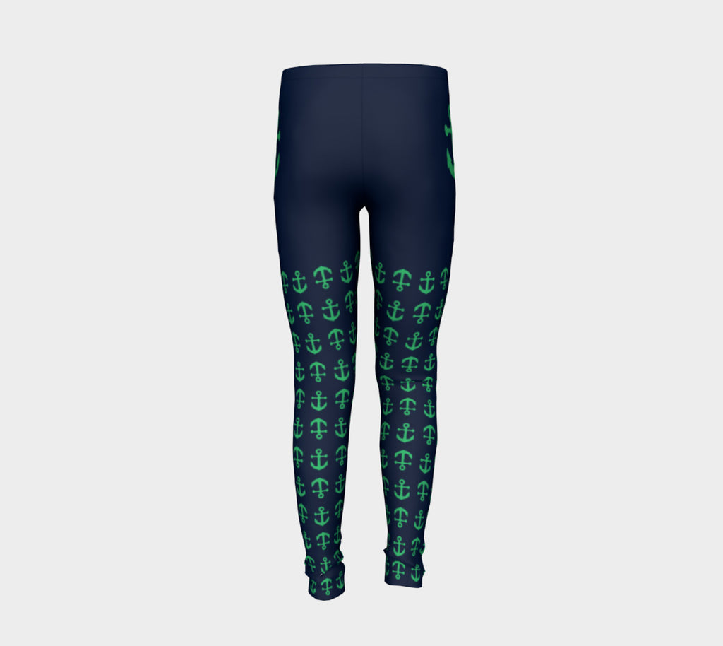 Anchor Legs and Hip Youth Leggings - Green on Navy - SummerTies