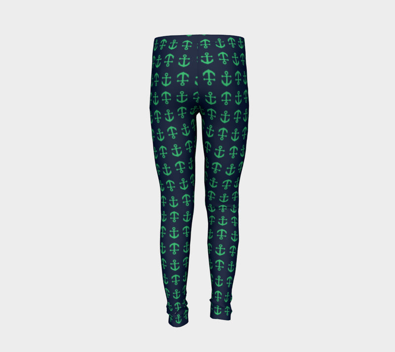 Anchor Toss Youth Leggings - Green on Navy - SummerTies
