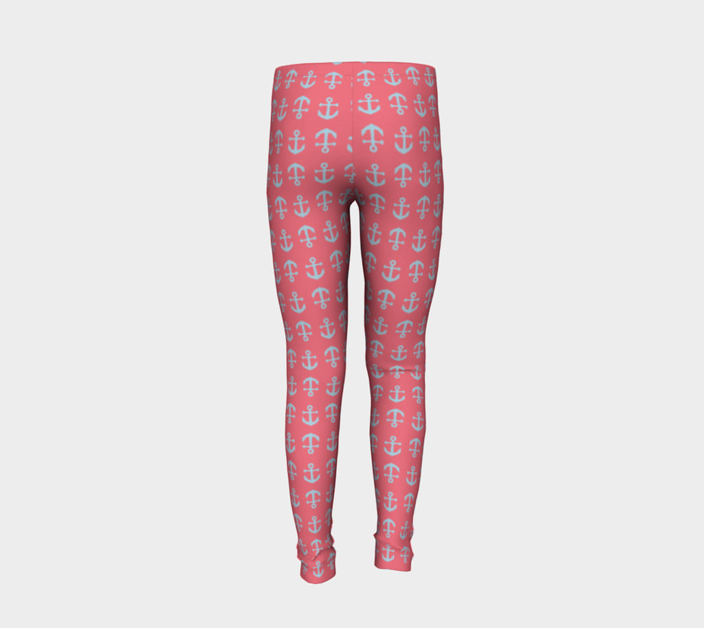 Anchor Toss Youth Leggings - Light Blue on Coral - SummerTies