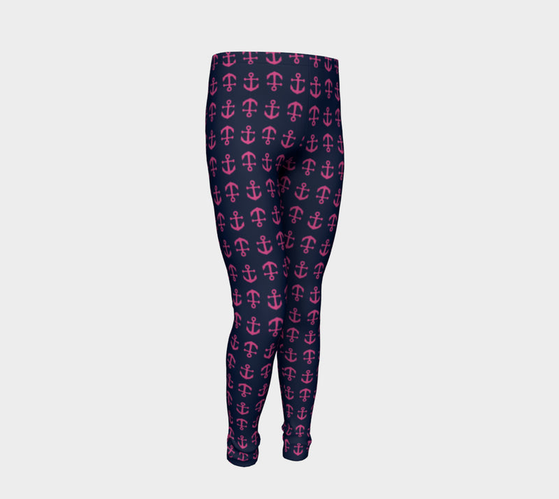 Anchor Toss Youth Leggings - Pink on Navy - SummerTies
