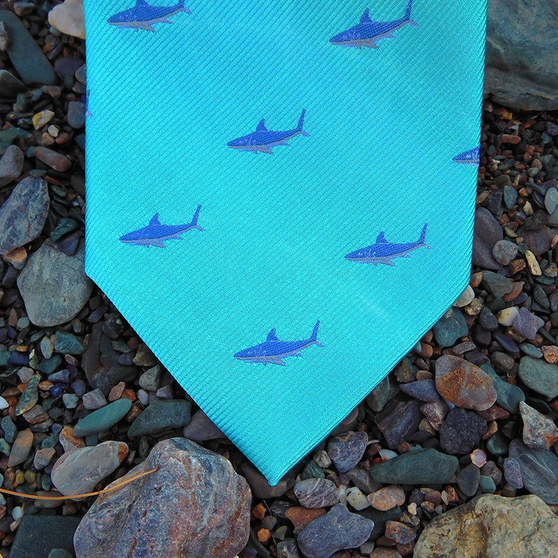 Shark Necktie - Blue on Aqua, Woven Silk - SummerTies