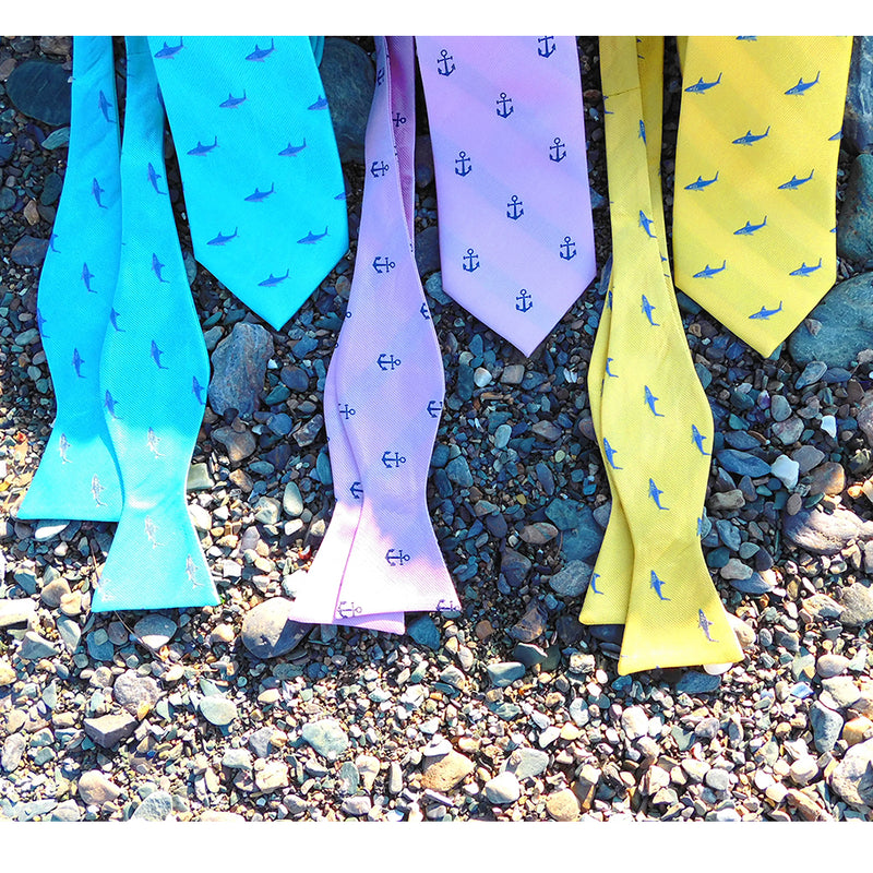 Shark Necktie - Blue on Yellow, Woven Silk - SummerTies