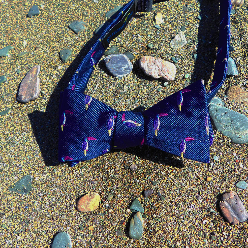 Toucan Bow Tie - Navy, Woven Silk - SummerTies