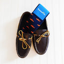 Trout Socks Coral on Navy - Men's Mid Calf - SummerTies