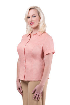 The Classic Linen Short Sleeved Shirt (Coral)