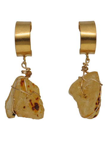 Amber Bronze and Gold Drop Earrings